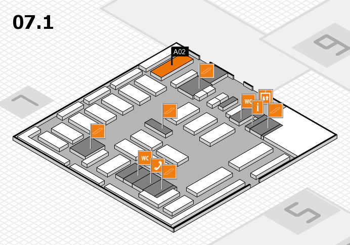 MEDICA 2016 hall map (Hall 7, level 1): stand A02