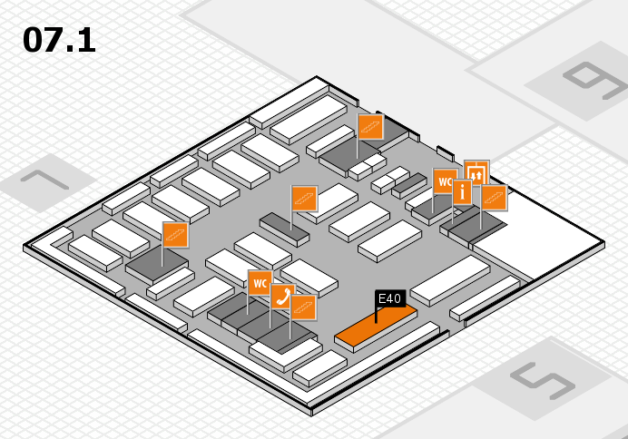 MEDICA 2016 hall map (Hall 7, level 1): stand E40