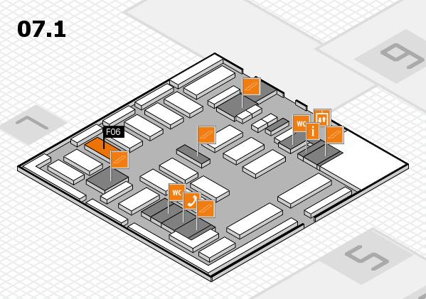 MEDICA 2016 hall map (Hall 7, level 1): stand F06