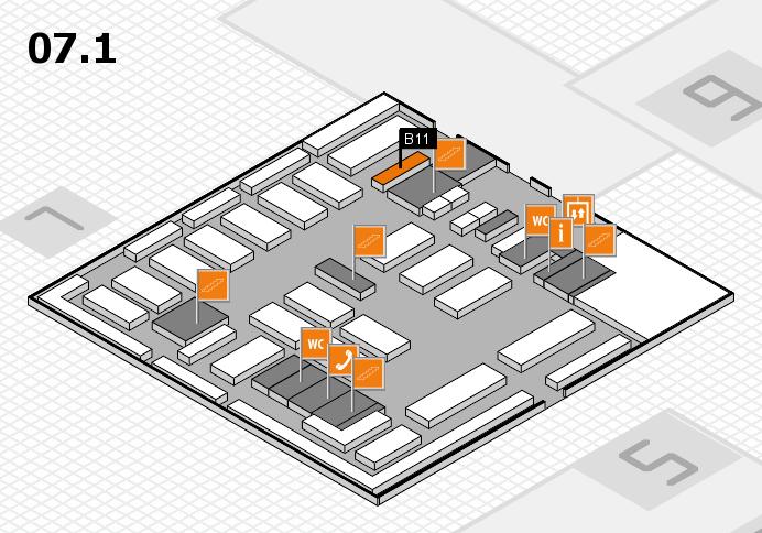 MEDICA 2016 hall map (Hall 7, level 1): stand B11