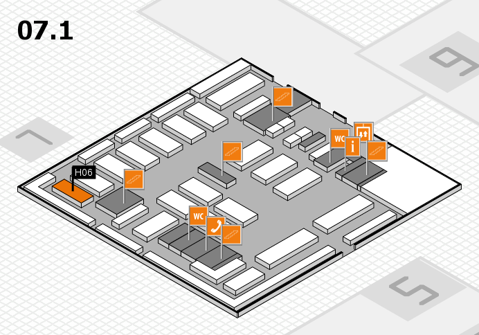 MEDICA 2016 hall map (Hall 7, level 1): stand H06