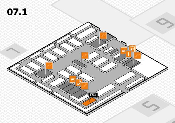 MEDICA 2016 hall map (Hall 7, level 1): stand F50