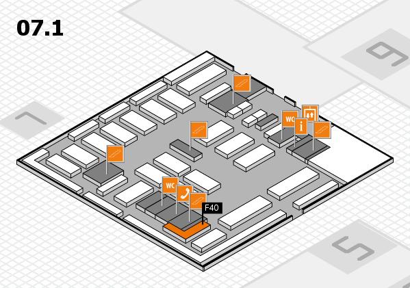 MEDICA 2016 hall map (Hall 7, level 1): stand F40
