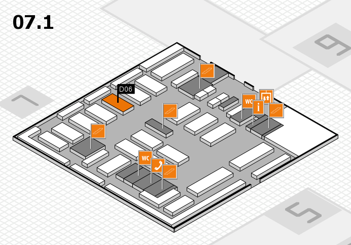 MEDICA 2016 hall map (Hall 7, level 1): stand D06