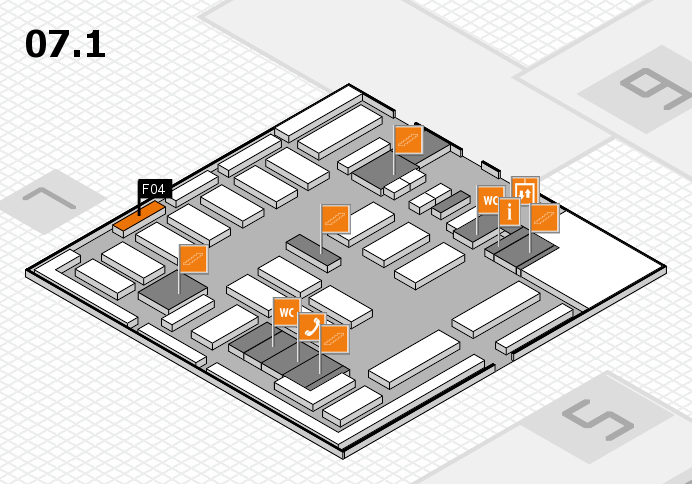 MEDICA 2016 hall map (Hall 7, level 1): stand F04