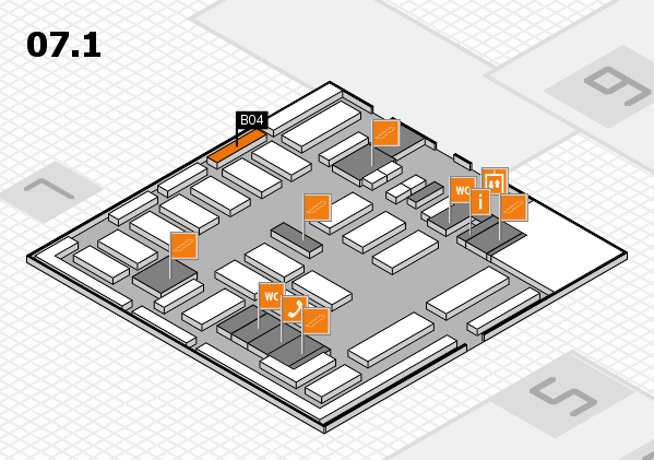 MEDICA 2016 hall map (Hall 7, level 1): stand B04