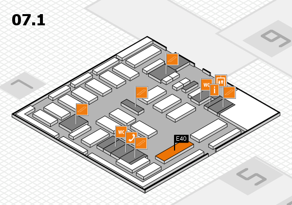 MEDICA 2016 hall map (Hall 7, level 1): stand E40