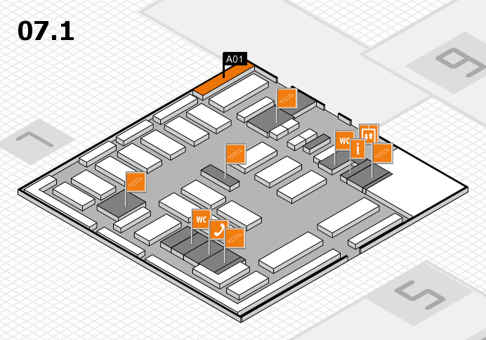 MEDICA 2016 hall map (Hall 7, level 1): stand A01