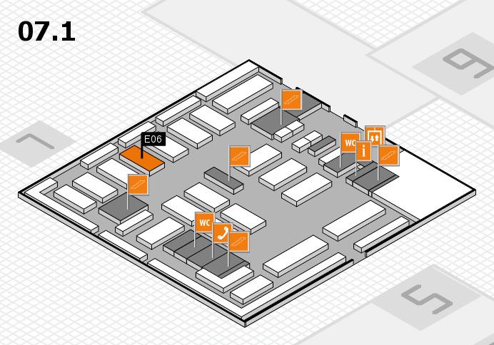 MEDICA 2016 hall map (Hall 7, level 1): stand E06