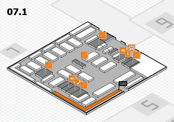 MEDICA 2016 hall map (Hall 7, level 1): stand G30