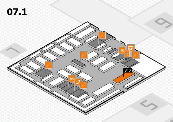 MEDICA 2016 hall map (Hall 7, level 1): stand B40
