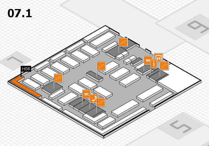 MEDICA 2016 hall map (Hall 7, level 1): stand H08