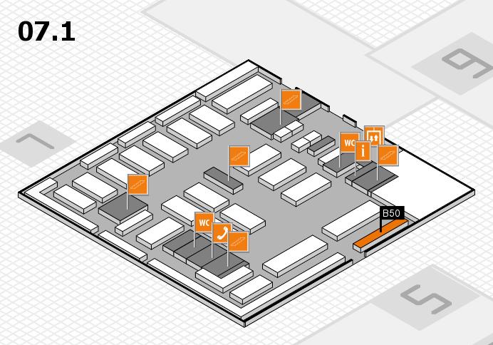 MEDICA 2016 hall map (Hall 7, level 1): stand B50