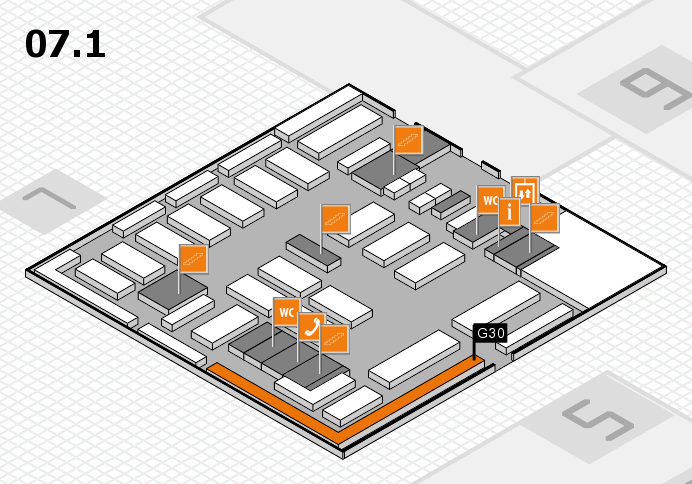 MEDICA 2016 hall map (Hall 7, level 1): stand G30