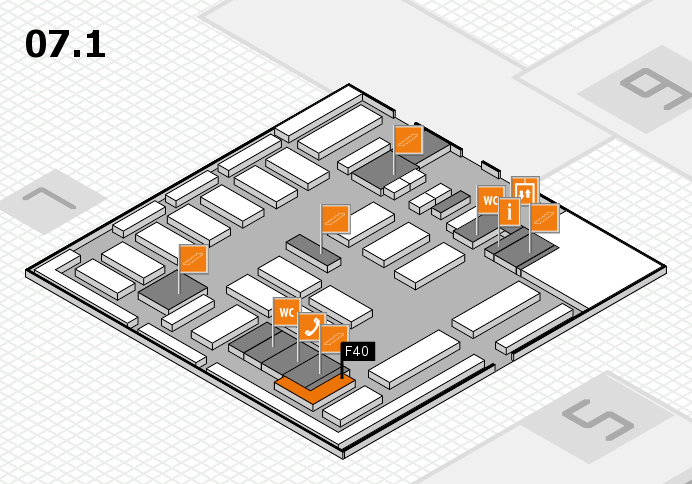 MEDICA 2016 hall map (Hall 7, level 1): stand F40