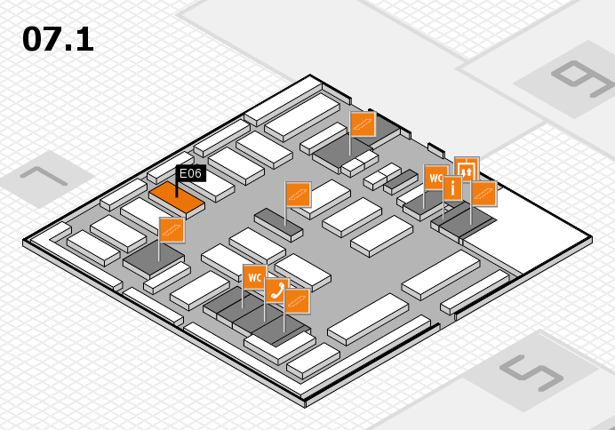 MEDICA 2016 hall map (Hall 7, level 1): stand E06
