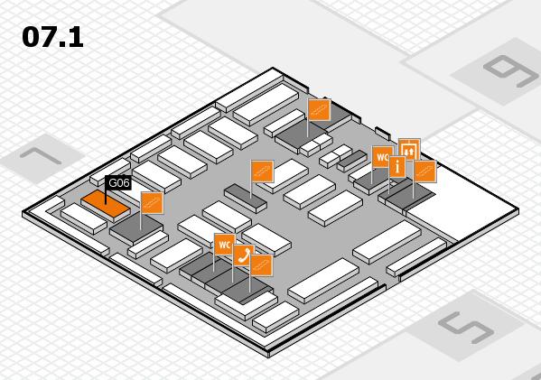MEDICA 2016 hall map (Hall 7, level 1): stand G06