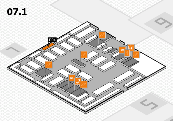 MEDICA 2016 hall map (Hall 7, level 1): stand D04