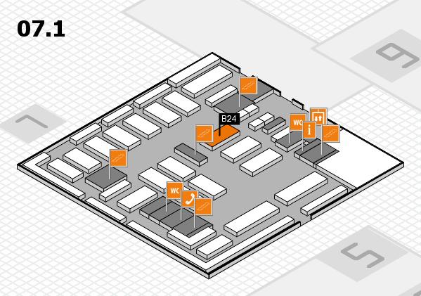 MEDICA 2016 hall map (Hall 7, level 1): stand B24