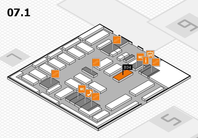 MEDICA 2016 hall map (Hall 7, level 1): stand B34