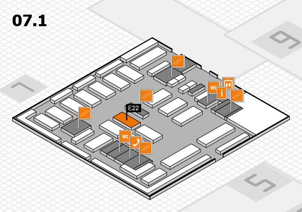 MEDICA 2016 hall map (Hall 7, level 1): stand E22