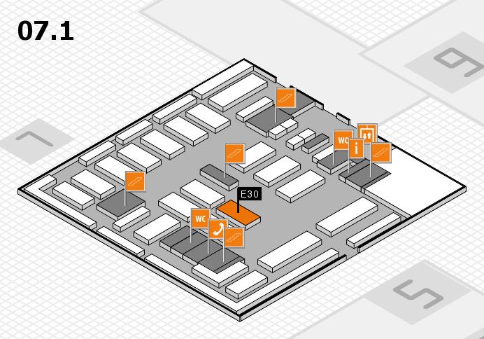 MEDICA 2016 hall map (Hall 7, level 1): stand E30