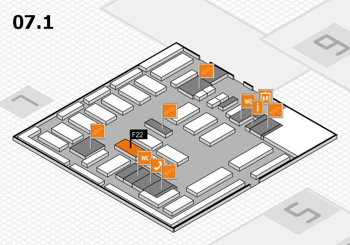 MEDICA 2016 hall map (Hall 7, level 1): stand F22