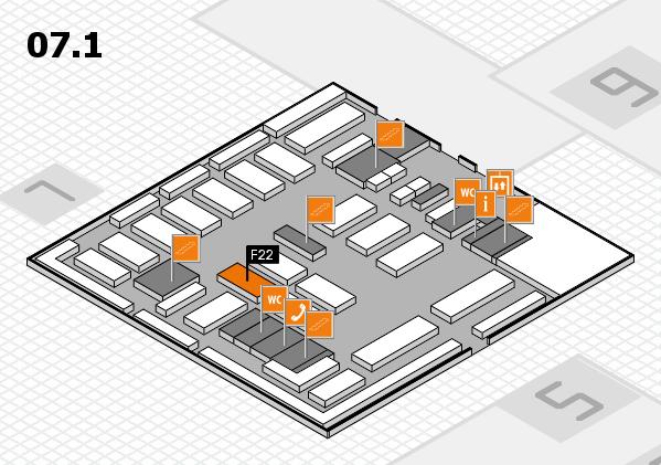 MEDICA 2016 hall map (Hall 7, level 1): stand F22