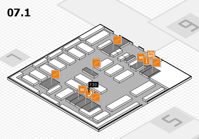 MEDICA 2016 hall map (Hall 7, level 1): stand F30