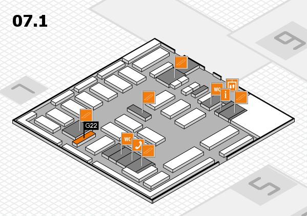 MEDICA 2016 hall map (Hall 7, level 1): stand G22
