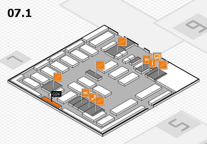 MEDICA 2016 hall map (Hall 7, level 1): stand G24