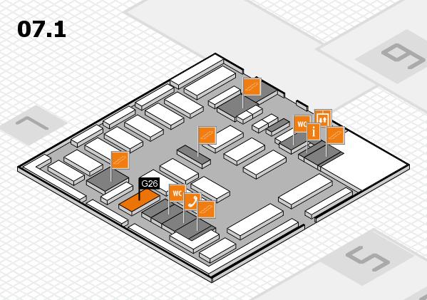 MEDICA 2016 hall map (Hall 7, level 1): stand G26