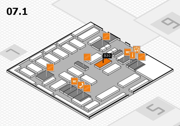 MEDICA 2016 hall map (Hall 7, level 1): stand B30
