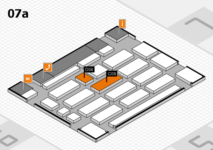 MEDICA 2016 hall map (Hall 7a): stand C09, stand D04