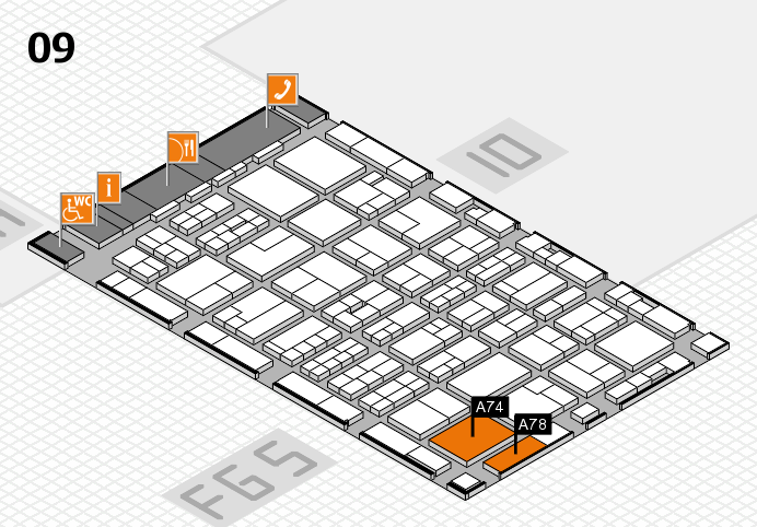 MEDICA 2016 hall map (Hall 9): stand A74, stand A78