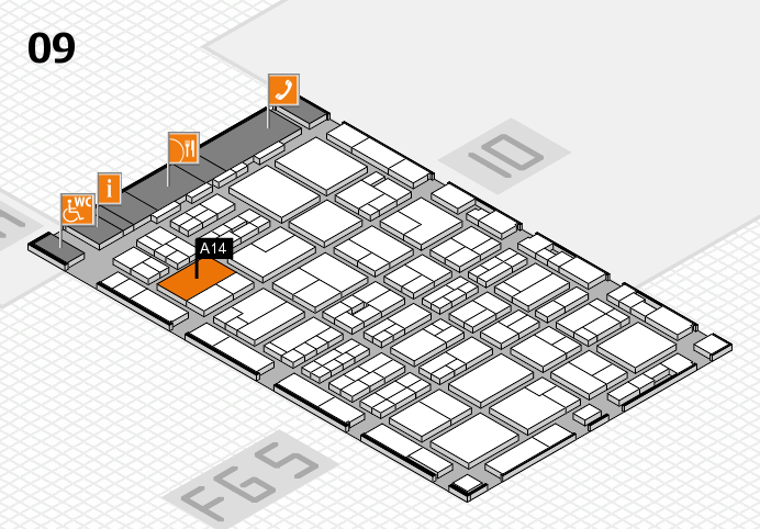 MEDICA 2016 hall map (Hall 9): stand A14