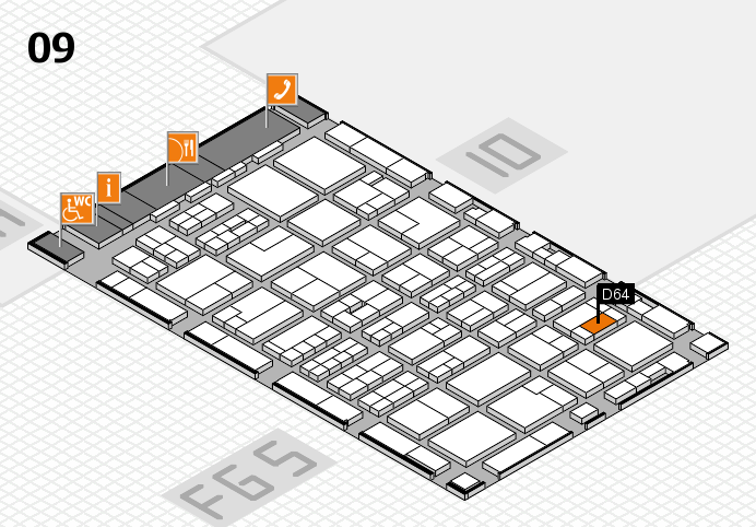 MEDICA 2016 hall map (Hall 9): stand D64