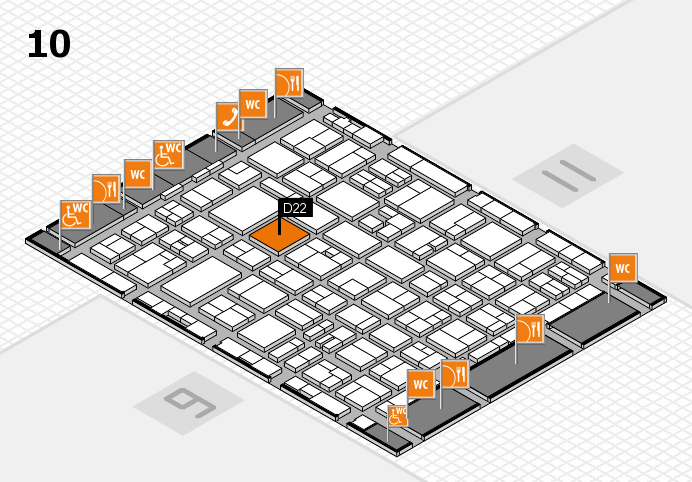 MEDICA 2016 hall map (Hall 10): stand D22