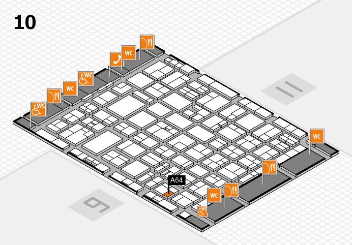 MEDICA 2016 hall map (Hall 10): stand A64