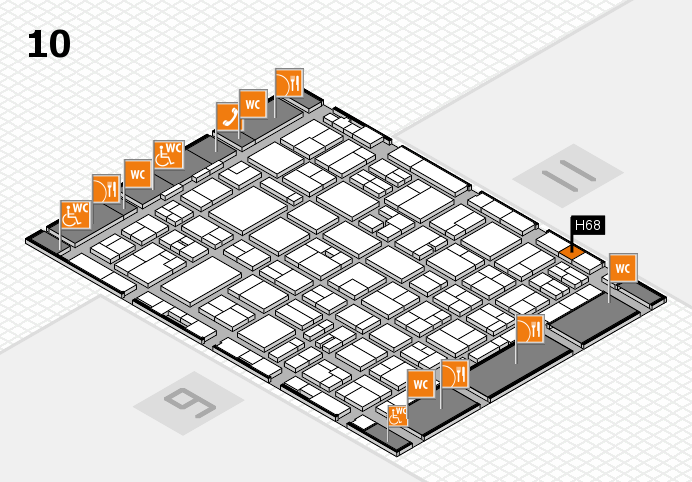 MEDICA 2016 hall map (Hall 10): stand H68