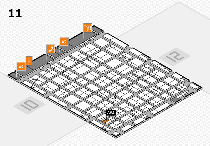 MEDICA 2016 hall map (Hall 11): stand A64