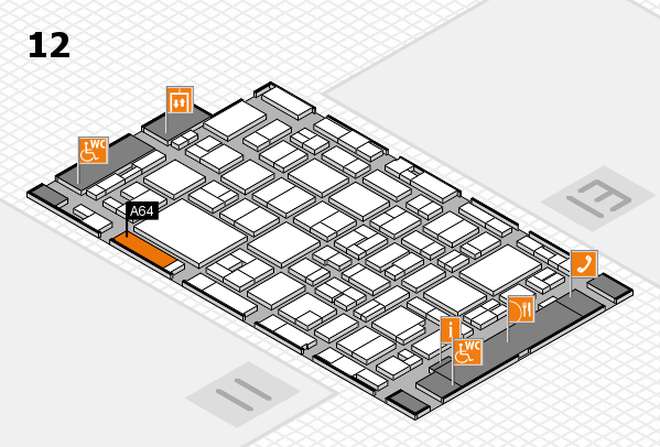 MEDICA 2016 hall map (Hall 12): stand A64