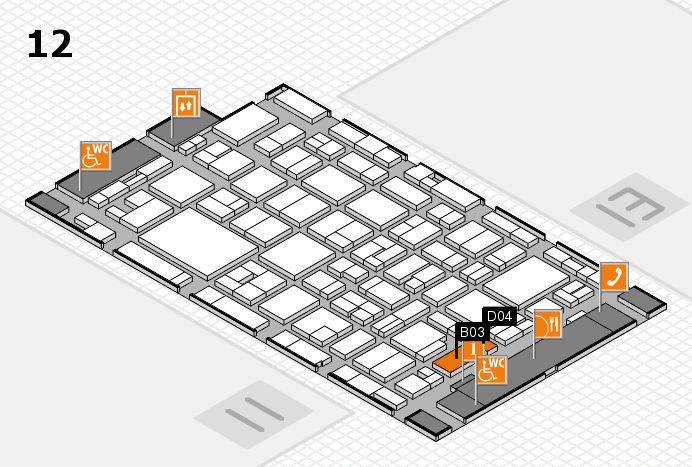 MEDICA 2016 hall map (Hall 12): stand B03, stand D04