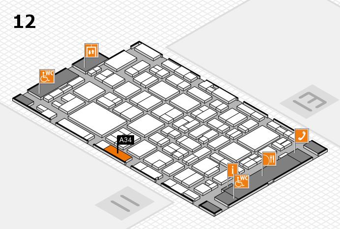 MEDICA 2016 hall map (Hall 12): stand A34