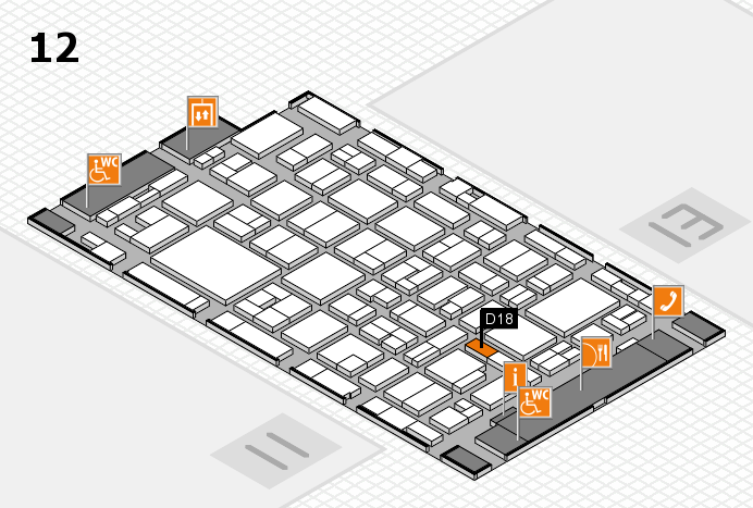 MEDICA 2016 hall map (Hall 12): stand D18