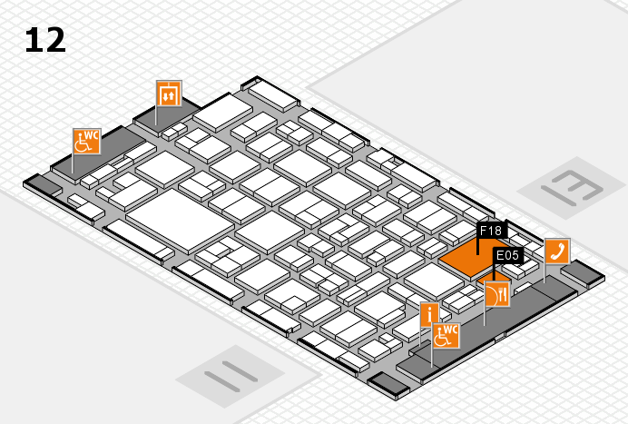 MEDICA 2016 hall map (Hall 12): stand E05, stand F18