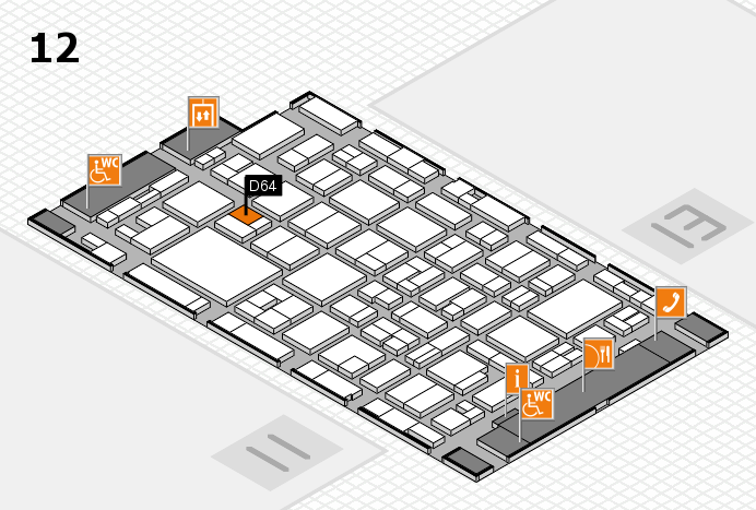 MEDICA 2016 hall map (Hall 12): stand D64