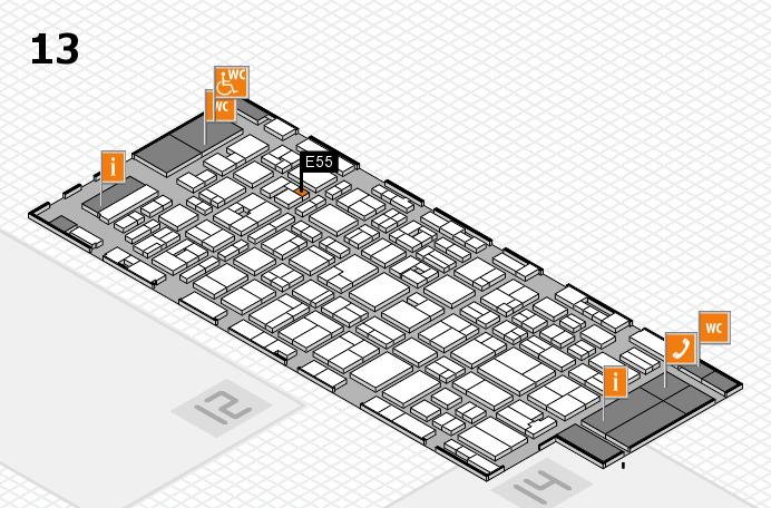 MEDICA 2016 hall map (Hall 13): stand E55