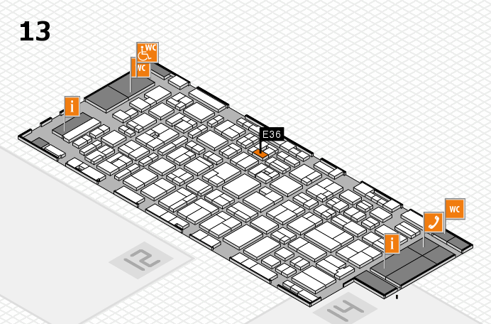 MEDICA 2016 hall map (Hall 13): stand E36