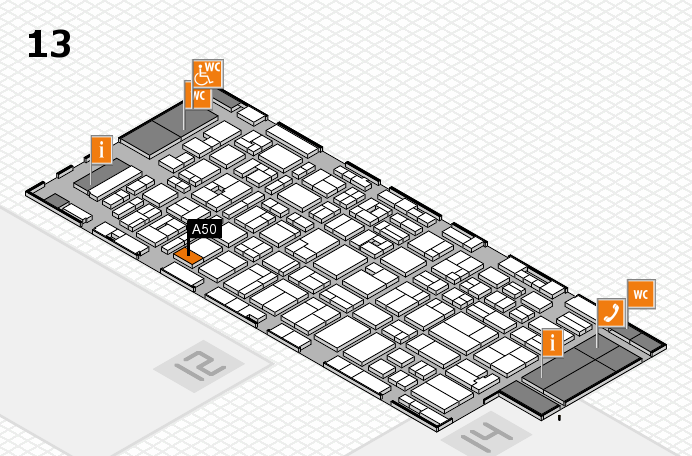 MEDICA 2016 hall map (Hall 13): stand A50